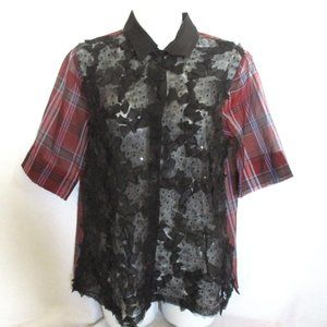 NEW DRIES VAN NOTEN ROSE Silk PLAID Blouse Top